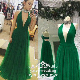 Wholesale backless halter plunge dress - Elegant High Neck Halter Prom Dresses Plunging Neckline Satin Tulle Floor Length Purple Green Royal Blue Evening Dresses Formal Gowns
