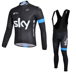 Wholesale Team Sky Pro Cycling Jersey - NEW Hot SKY mtb Men's cycling jersey pro team long sleeve bib pants sets Breathable Outdoor Sportswea maillot ciclismo Lycra Bicycles A0901