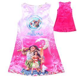 Wholesale Cartoon Deck - Moana Girls Dresses Print Beauty and the Beast Sleeveless Vest Dresses Double-deck Zipper Moana Cartoon One-Piece Dresses