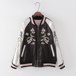patch bomber women Coupons - Wholesale- Fashion Reversible Coat Embroidery Flower Phoenix Bird 2016 Women Bomber Jacket Coat Pilots Outerwear Jacket On Both Sides