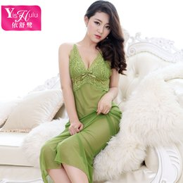 Wholesale Polka Dot Temptations - Yi Shu elegant lace dress sexy lace straps Heron Nightgown lingerie wholesale suit temptation Perspective Bodysuit Keep Slimming