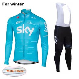 Wholesale Sky Winter Cycle Clothing - 2017 SKY Team Thermal Fleece Bicycle Clothing Winter Set Long Sleeves Cycling Jersey Outdoor Sport Coat Suit with 9D Gel Pad