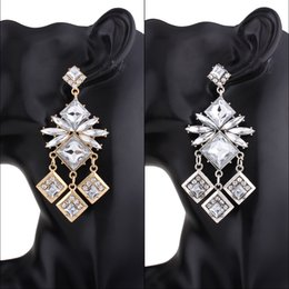 Wholesale Crystal Animal Carving - hot sale fashion jewelry designer popular stylish woman lady metal alloy Tassel Carved female long diamond crystal dangle chandelier earring