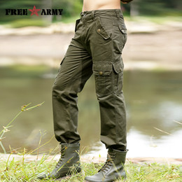 Wholesale Mk High Quality - Wholesale-Mens Pants Casual Fashion Autumn Winter Men's Cargo Pants High Quality Pockets Straight Long Trousers Pantalones Hombre Mk-710
