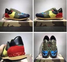 Wholesale Chocolate Footwear - [Original Box]Fashion Stud Camouflage Sneakers Shoes Footwear Men,Women Flats Luxury Designer Rockrunner Trainers Casual Walking Shoes
