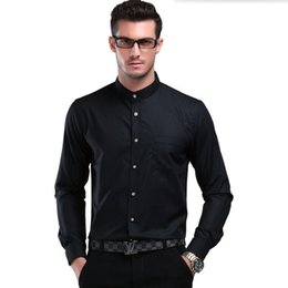 Wholesale high quality groom shirts - Chinese style mandarin collar white men shirt groom long-sleeved shirt pure color high quality business casual interview party dress shirt