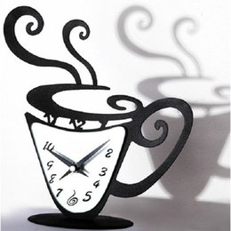 Wholesale Wall Coffee Clocks - Wholesale- Diy 3d Acrylic Mirror Wall Clock Sticker Coffee Cup Clock Modern Design Luxury Atr Wall Watch Decorative Relogio De Parede