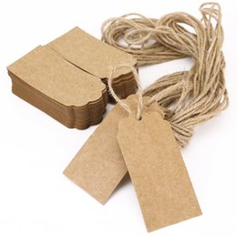Wholesale Kraft Paper Gift Tags - 100X Brown Kraft Paper Tags Lace Scallop Head Label Lage Wedding Note +String DIY Blank price Hang tag Kraft Gift Hang tag