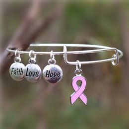 Wholesale Cuffs Pink - Care For Breast Cancer Pink Ribbon Bangles Hope Love Faith Charms Bracelet Adjustable Bangles for Jewelry