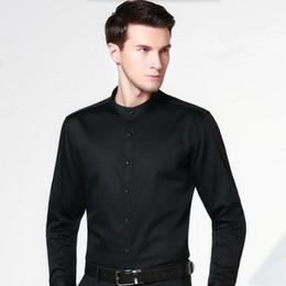 Wholesale Groom Groomsmen Shirts - Wholesale- Simple version groom shirt solid color slim fit formal shirt white mandarin collar groomsman dinner party shirt