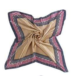 Wholesale twill silk scarf square - Wholesale- 90*90cm Imitated Twill Silk Scarf Square Women Scarf 2017 Plain Scarfs Shawls Hijab For Ladies
