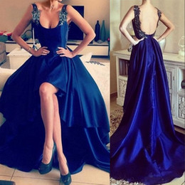 Wholesale shiny evening gowns - Shiny Royal Blue Satin 2017 Prom Dresses A Line Sapghetti Straps Sexy Backless Floor Length Party Formal Evening Gowns with Appliques