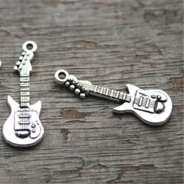 Wholesale Guitar Plate - 25pcs--Guitar Charms, Antique Tibetan Silver Tone Guitars Charm Pendants 31x11mm