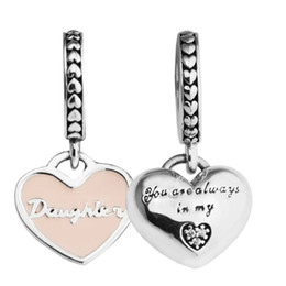 Wholesale Pandora Daughter Bead - 2017 mother's day Silver Beads DIY Fit Pandora bracelets Authentic 925 Sterling-Silver-Jewelry Charms Mother & Daughter Hearts,Pink Ename