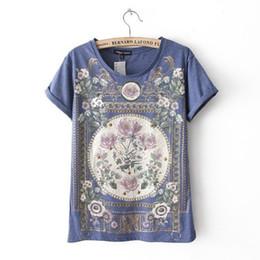 Wholesale Woman Flower Print Shirt Vintage - Wholesale- Hot 2016 summer tshirt cotton women Tops tee shirt femme t-shirt Women T Shirt Royal Flower Print Short Sleeve Plus Size Vintage