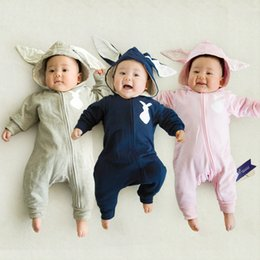 Wholesale Rabbit Dresses Girls - INFANT DRESS Spring Autumn Baby Rompers Cute Cartoon Rabbit Infant Girl Boy Jumpers Kids Baby Outfits Clothes