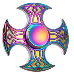Wholesale Fantasy Axe - Rainbow Axe Fidget Spinner Colorful Corner Axe Hand Spinner Metal 4 Leaf Handspinners Zinc Alloy Tri-spinner Decompression Toy