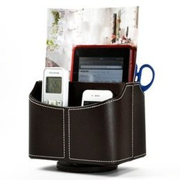 Wholesale Tv Remote Caddies - Wholesale- PU Leather 360 Degrees Rotatable Remote control controller TV Guide mail CD organizer caddy holder