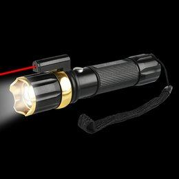 Wholesale Led Lumen Flashlight - UV Red Laster+XML T6 LED Hunting Flashlight 3800 Lumen Zoom Tactical Flash Light Torch 3 Mode for 18650 or AAA Battery (no include battery)