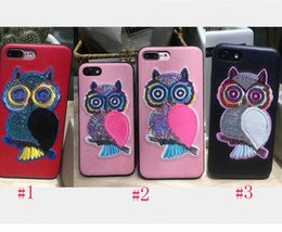 Wholesale Embroidery Cases Iphone - Europe New Spring Embroidery owl artificial leather Case for iphone 6 plus 7 Phone Case for iphone 6 6s 7 plus splus