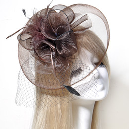 Wholesale Wholesale Church Decorations - Elegant Lady Handmade Church Hat Feather Fascinator Hat Wedding Hair Decoration Bridal Accessories Free Shipping