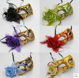 Wholesale Cloth Face Masks Wholesale - New velvet side flower mask with flowers half face male ladies children mask lace cloth eye goggles Halloween mask