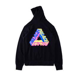 Wholesale Korean Hoodie Sets - new Korean hip-hop 17ss JUSTIN BIEBER Palace P3-D rainbow gradient letters triangle hoodie fleece Sets men women hooded jacket 3 style