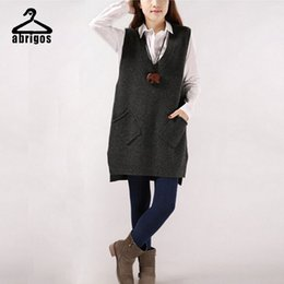 Wholesale Korean Shirt Knitting Pocket - Wholesale-2016 New V-Neck Knit Shirt Pocket Vest Korean Version Of The Long Section Sleeveless Sweater Female MY001