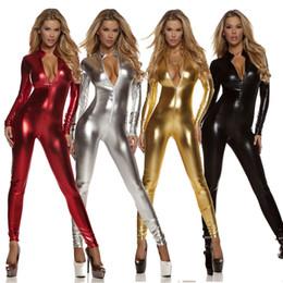 Wholesale Wet Metallic Sexy - Women Shiny Metallic Spandex Lycra Zentai Catsuit One Piece Catsuit Long Sleeve Zipper Front Bodysuit Wet Look Costume Unitard
