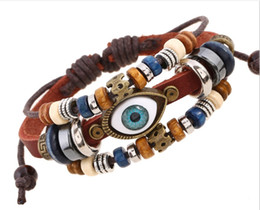 Wholesale Turquoise Home - Turkey turquoise Eye Adjustable Genuine Leather Bracelets Men & Women home garden holiday party gifts free shipping