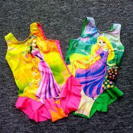 Wholesale Girls Princess Bathing Suits - Baby Girls Swimwear Summer Kids Colorful Princess One Piece Swimwear Children Bathing Suit Kids Girls Bikini Swim Clothing