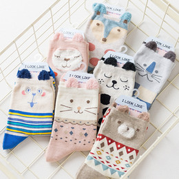 Wholesale Hosiery Designs - New !!! 7 Designs Fashion Cartoon Socks for Girls Cute Bear Leopard 3D Animal Socks Autumn New Female Hosiery