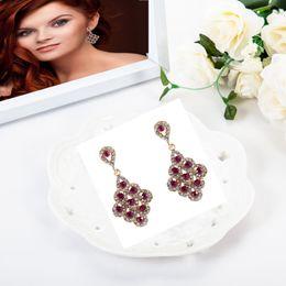 Wholesale Pink Rose Gold Earrings - 3pr lot 4.2 cm Luxurious Rhomb Bridal Earrings Vintage Rose Pink Crystal Earings Woman Bridesmaids Jewellery Wedding Earrings for Brinco