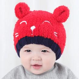 Wholesale Mink Cashmere Knitting Yarn - Baby Matching Knitted Hats Warm Fleece Crochet Beanie Hats Winter Mink PomPom Kids Headwear Hat Caps Teddy Bear Plush cap