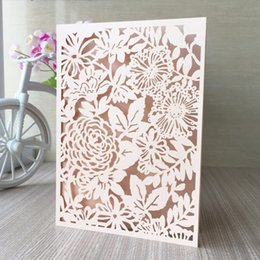 Wholesale Text Design Free - 20pcs lot free shipping laser cut lace flowers design wedding birthday invitation cards text customized white ivroy,party invitation