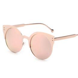 Wholesale Wholesale Half Shaded Sunglasses - Wholesale-Contain Rose Gold!2016 Fashion Brand Cat Eye Half Frame Sunglasses Cosy Shades Men Women Designer Eyewear Sun Glasses Oculos 956
