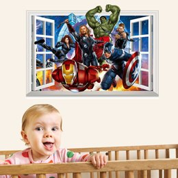 Wholesale Avengers Wall Stickers - 3D Avengers Window Style Wall Sticker for Children PVC Colorful Art Mural Wall Decal For Kids and Nursery Decoration