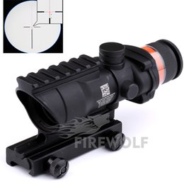 Wholesale Trijicon Acog Tactical Scope - 2017 Black&tan color Tactical Trijicon acog style 4x32 rifle scope red dot Red Optical fiber 20mm Rail