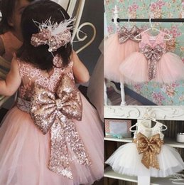 Wholesale Organic Childrens Clothing Wholesale - 2017 Girls Childrens Dresses Summer Sleeveless Lace Princess Dress for Girls Clothing Sequined Big Bow Girl Kids Clothes Ball Gown Dresses