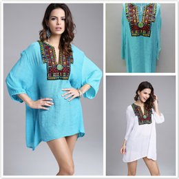 Wholesale Wholesale Beaded Top Clothes - 2017 women clothes summer women tops Cotton Linen Fashion Beaded Embroidery Floral Sexy V-Neck Women Tops T-Shirt Luxury t-shirts Many Color