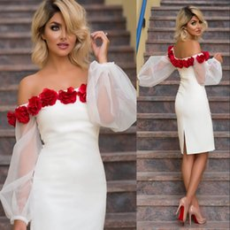 Wholesale New Mother Flowers - 2018 New Designed Sheath Cocktail Prom Dresses Arabic Poet Long Sleeves with Hand Made Flowers Knee Length Mother Of Bride Dresses Evening