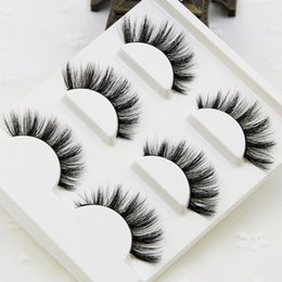 Wholesale Faux Lashes - 3pcs lot 100% handmade real mink fur false eyelash 3D strip mink lashes thick fake faux eyelashes Makeup beauty False Eyelash