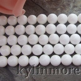 "Wholesale Oval Natural Gemstone Beads - 8SE11055 8mm Natural White Tridacna Shell Round Gemstone Beads 15.5"" Strands"