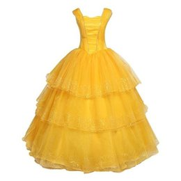 Wholesale Belle Yellow - Kukucos Movie Figure Beauty and The Beast Princess Belle Yellow Dress Cosplay Costume Halloween Party Suit