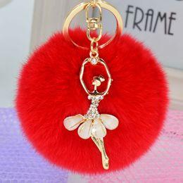 Wholesale Phone Charms Characters - Solid Color Rabbit Fur Keychain Ball Pompom Cell Phone Car Handbag Metal Charm Handmade Car Jewelry Alloy Metal Angel Dancer Bag Pendant