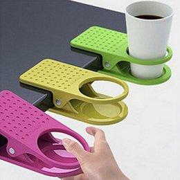 Wholesale Drink Clip Holder Desk - Wholesale- 6PCS Lot Desk Cup Holder Drink Clip Lap Table Folder Reading Creative Design Table Manager