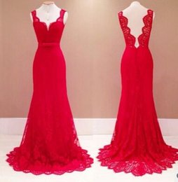 Wholesale Cheapest Night Dresses - Cheapest Dress Newly Fashion Deep V-Neck Backless Lace Dress red