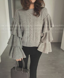 Wholesale Ladies Knit Pullovers - 2017092210 Women Knitted Sweaters Autumn Winter Ruffled Layers Sleeve Ladies Woman Knitting Sweater Pullovers