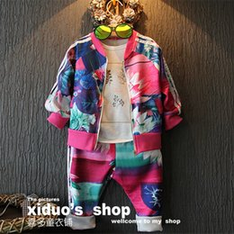 Wholesale 8years Girl - Wholesale- retail 2015 cotton baby girls clothing sets autumn fashion children tracksuits zipper coat + pants kids sports suit 2-8years