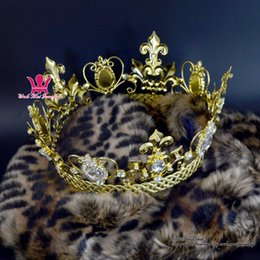 Wholesale Wholesale Crown Royal - Full Crown Gold Imperial Majestic Rhinestone Men Women Royal Prince Queen Princess Cosplay Style Party Show metal Hair Accessories MO213